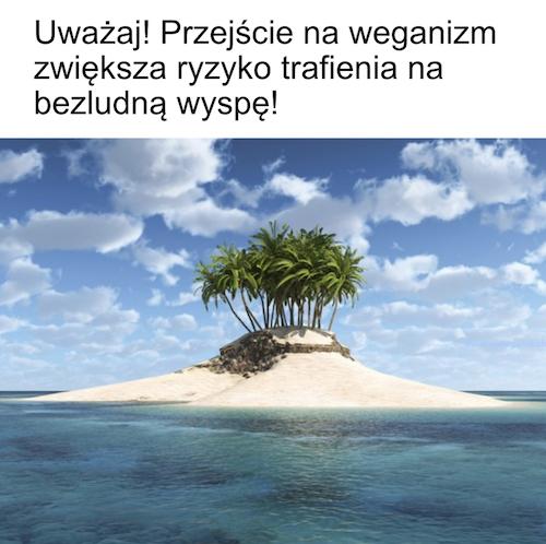 wegańskie memy - bezludna wyspa